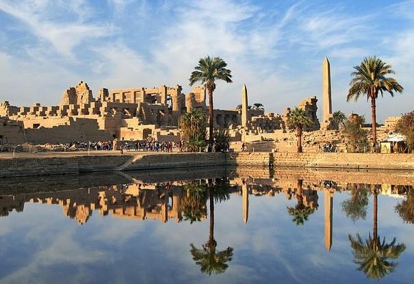 Karnak temple, Luxor, Egypt, holy lake in Karnak,
